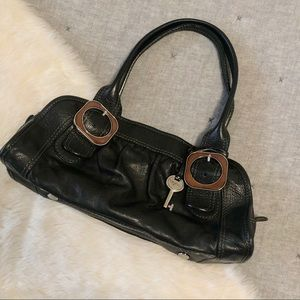 Fifty four fossil black leather shoulder bag